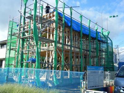 一宮市 社宅 建築設計事務所 建方から上棟へ